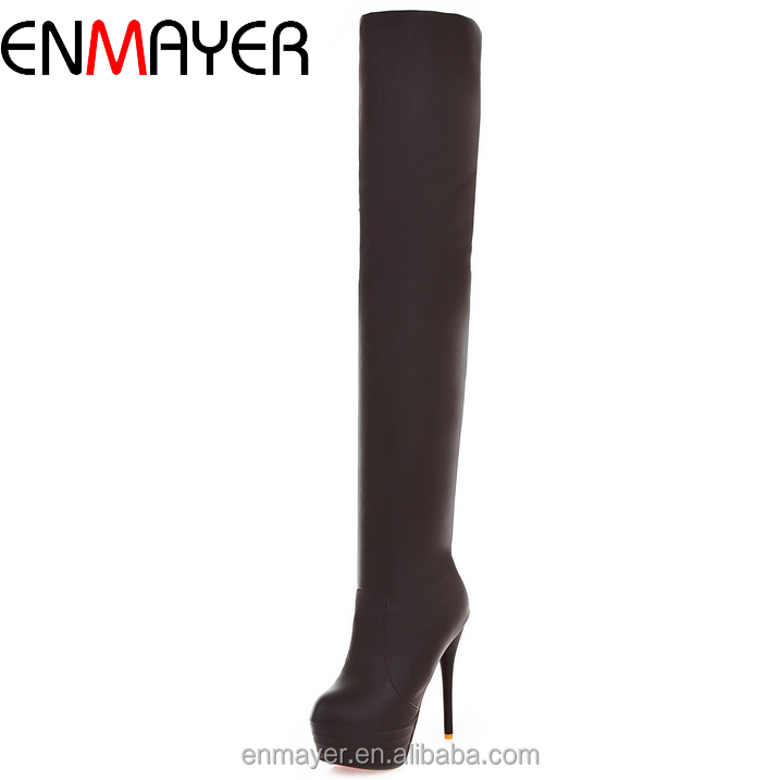 Factory wholesale cheapest overknee long hairy 14cm pencil high heel <strong>boots</strong> for girls