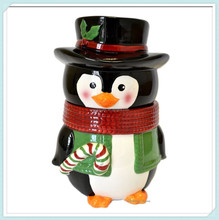 "10"" Winter Decor Black White Ceramic Penguin Shape Biscotti Canister Cookie Jar"