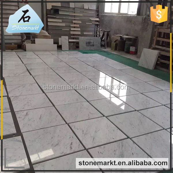 Chinese supplier polished floor bianco carrara white marble tile for bathroom