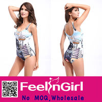 New Design Wholesale Fancy Print Sexy Brand Name Sheer Swimsuit