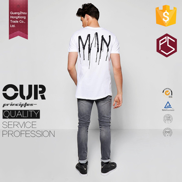 Made in China Hongxiong OEM 180g White Printing Loose XXXL Oversized Men basic Longline t shirt
