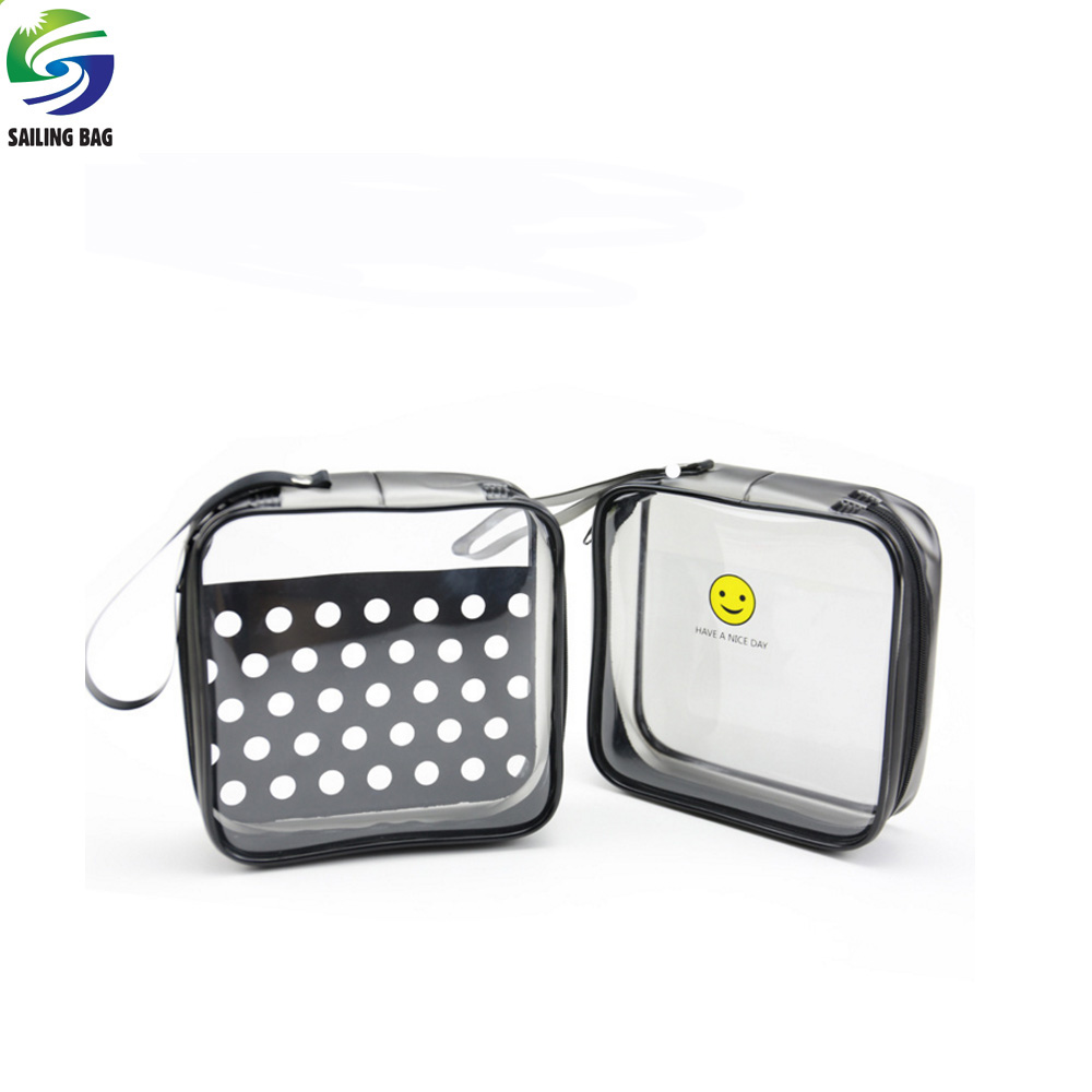 2017 factory wholesale promotional cosmetic bag pvc packing zipper bag with handle