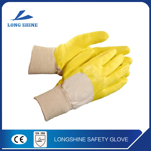 top sale chemical resistant yellow latex coated cotton glove/ carpenter gloves
