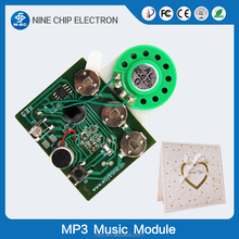 Greeting card sound module recordable music chip