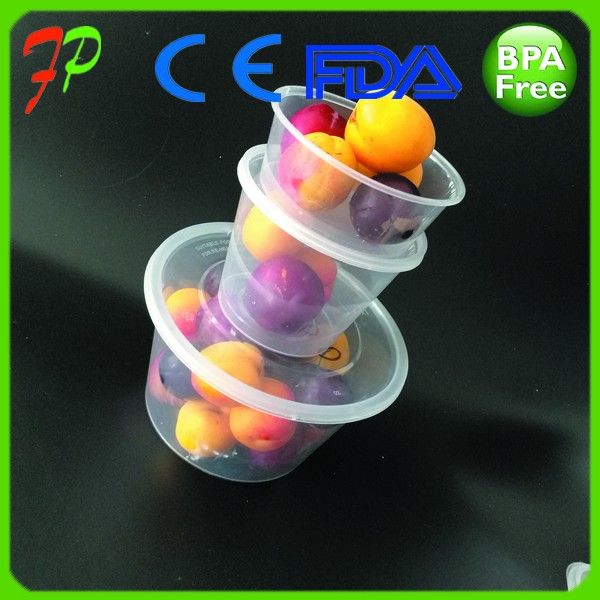 Custom made lunch box packaging sealable round plastic food container
