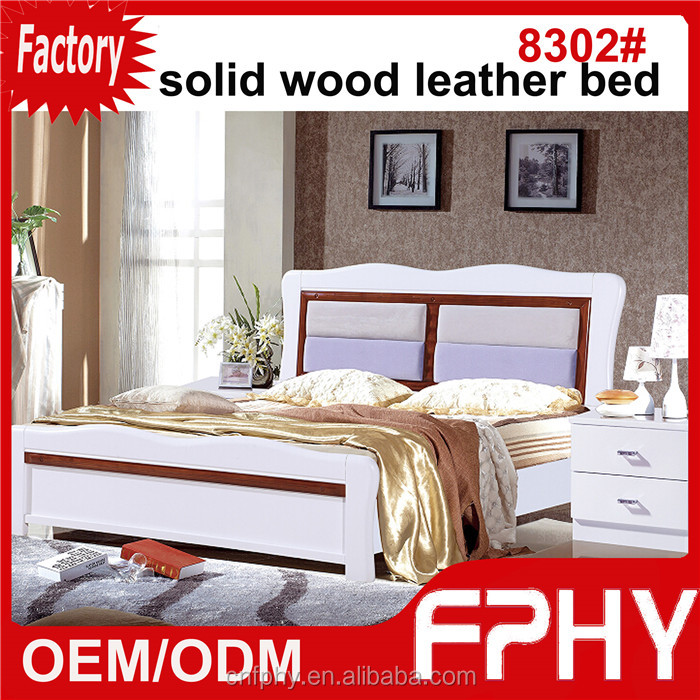 2016 Hot selling FPHY 83# series king size adult bed leather MDF panel oak wood home furniture
