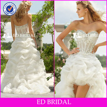 GW09132 Sweetheart beaded Appliqued Organza royal blue and white wedding dresses
