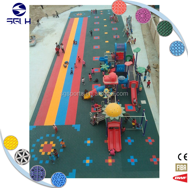 Suspended PP interlocking safety kindergarten classroom flooring kindergarten outdoor flooring