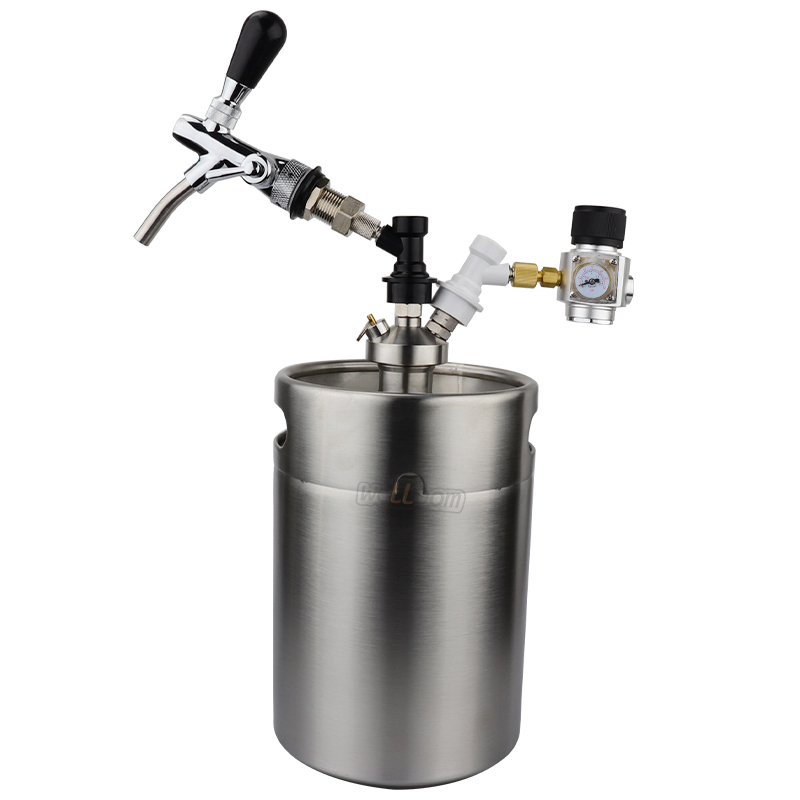 170 oz 5L Mini Keg Pressurized Growler for Craft Dispenser System Adjustable Draft Beer Faucet with Mini CO2 Regulator kit