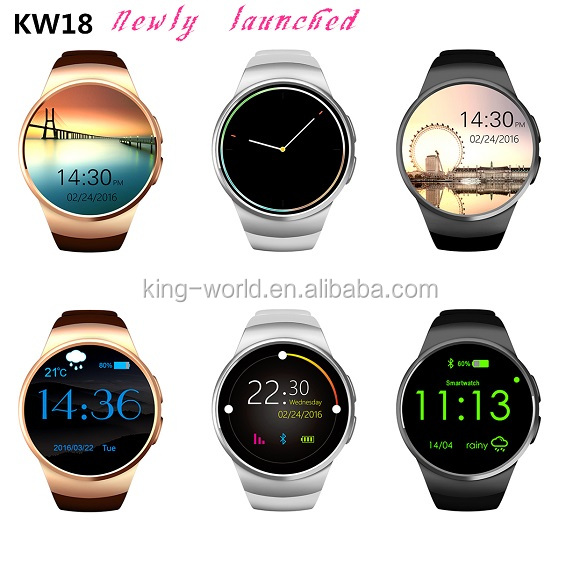 KW18 King wear Bluetooth MP3 touch Screen Smart Watch Phones iOS Android