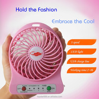 Portable Mini USB Fan Powered by18650 Rechargeable Battery or 5V 1A Adapter& Mini USB Battery Fan