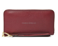 New Arrival Cow Leather Large Zip Clutch Long Wallet Purse for Women / Leather Purse with Card Slots