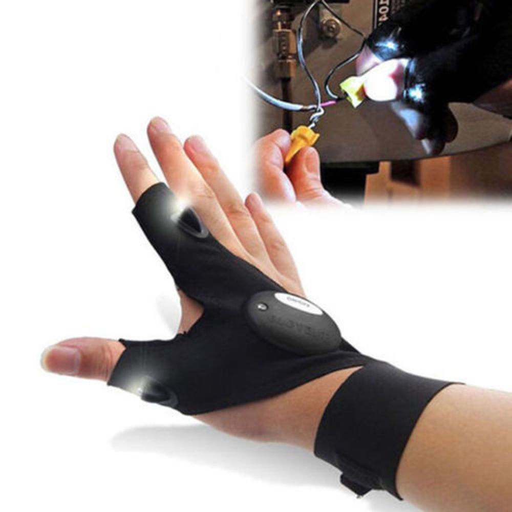 2017 NEW Fingerless LED Gloves Fishing Magic Strap LED Flashlight Camping Hiking Light Left/ Right Hand Luminous Gloves
