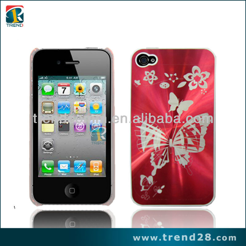 accessory for phone cases from competitive factory three dimensional butterfly design pc mobile phone case for iphone 4 4s