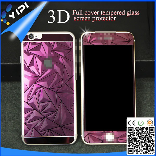 Colorful Mirror Tempered Glass Screen protector Front & Back For iphone 6 & 6 plus, 3D Full Cover Tempered Glass Screen Protect/