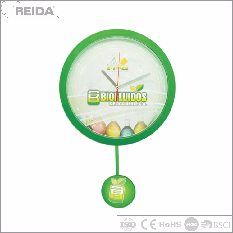 Reida analog wall quartz green plastic clock dome