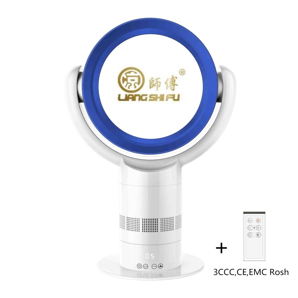 LIANGSHIFU Key-press 10 Inch Round Shape Table Bladeless Fan <strong>Air</strong> cooling White Blue LSF-018-3A
