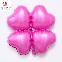 12inch romantic pink foil helium balloon four heart clover inflatable balloons for arch