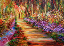 beautiful garden flowers road oil painting on canvas new design