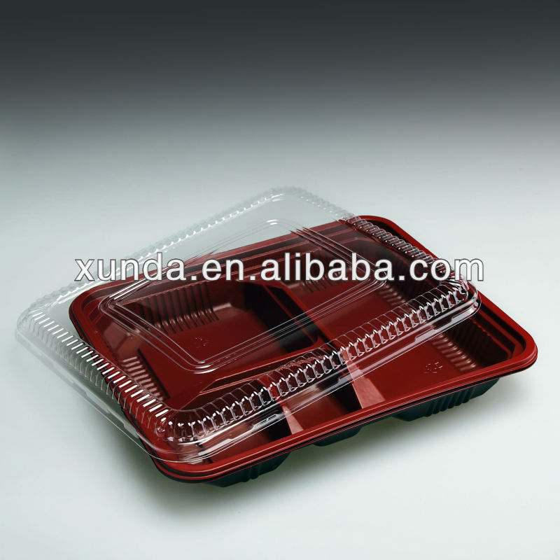 Disposable plastic bento box with lid