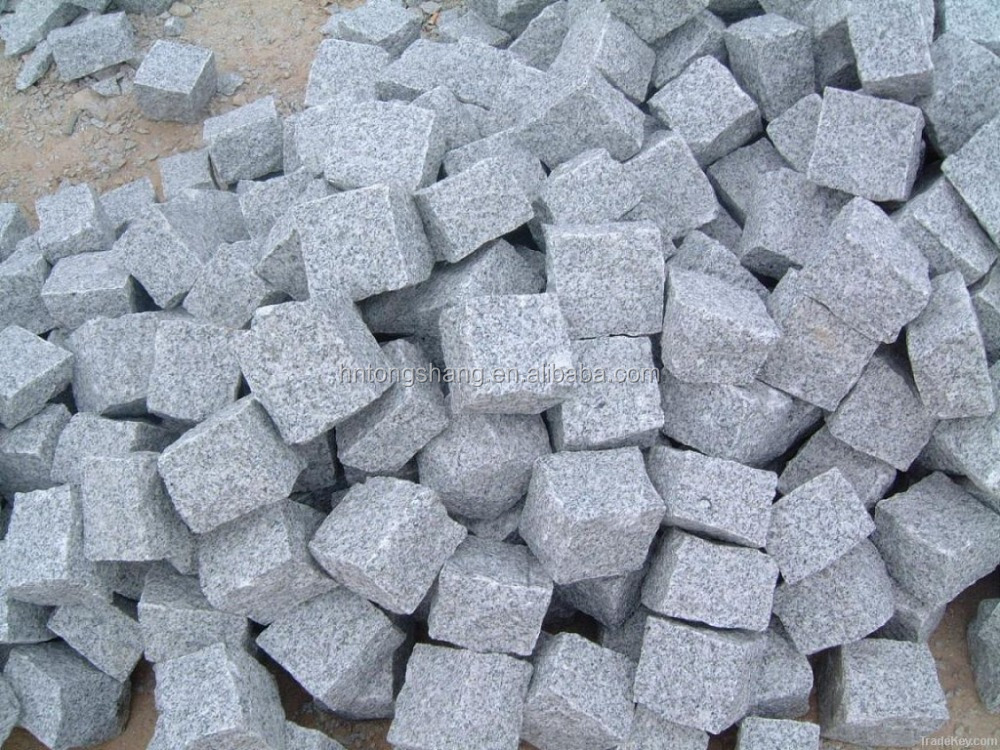 cheap light grey granite cobblestones paving for sale