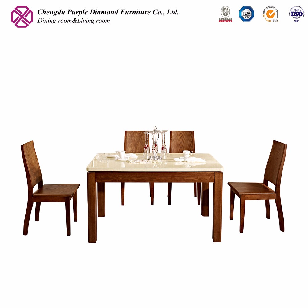 Wood furniture legs modern marble dining table with four chairs
