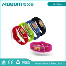 "Pedometer cheapest silicone bracelets/ 3D pedometer Watch with ""One Tap"" Mode Function"