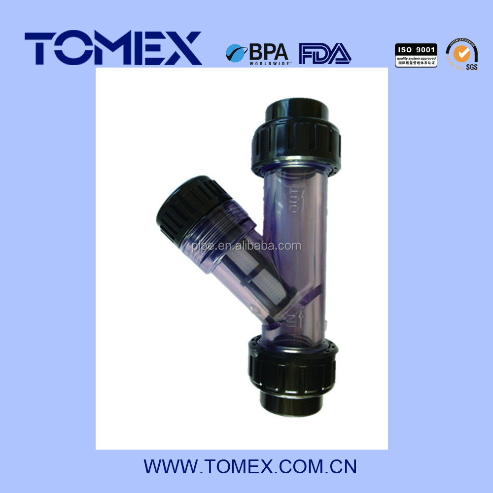 China supplier Y-Strainer 2 In Threaded Clear PVC