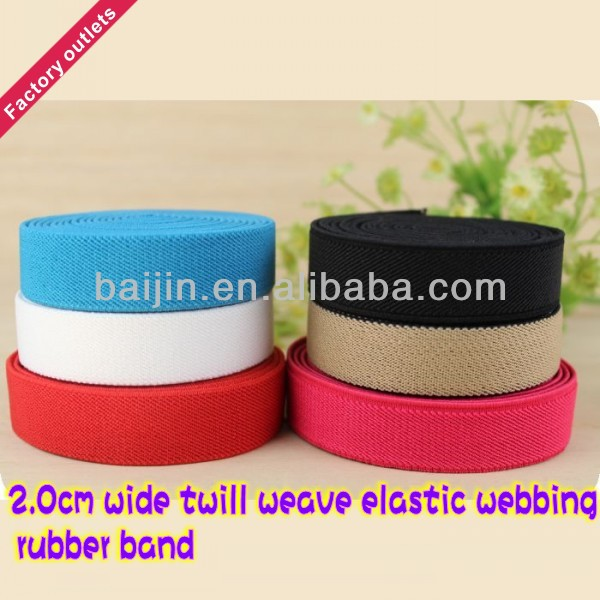 2.0cm wide colored twill weave elastic webbing, rubber band