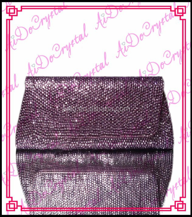 Aidocrystal special purple crystal blink rhinestone clutch purses and shoes set for party