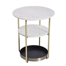 Modern Marble Top Metal Tray Base 3 Tiers End Side Table For Living Room <strong>Furniture</strong>