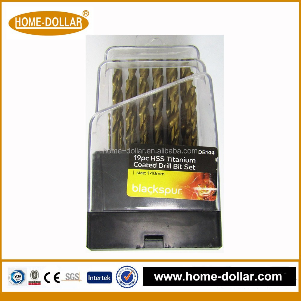 19pc china supplier Wood, Masonry & HSS Combination Drill Bit Set