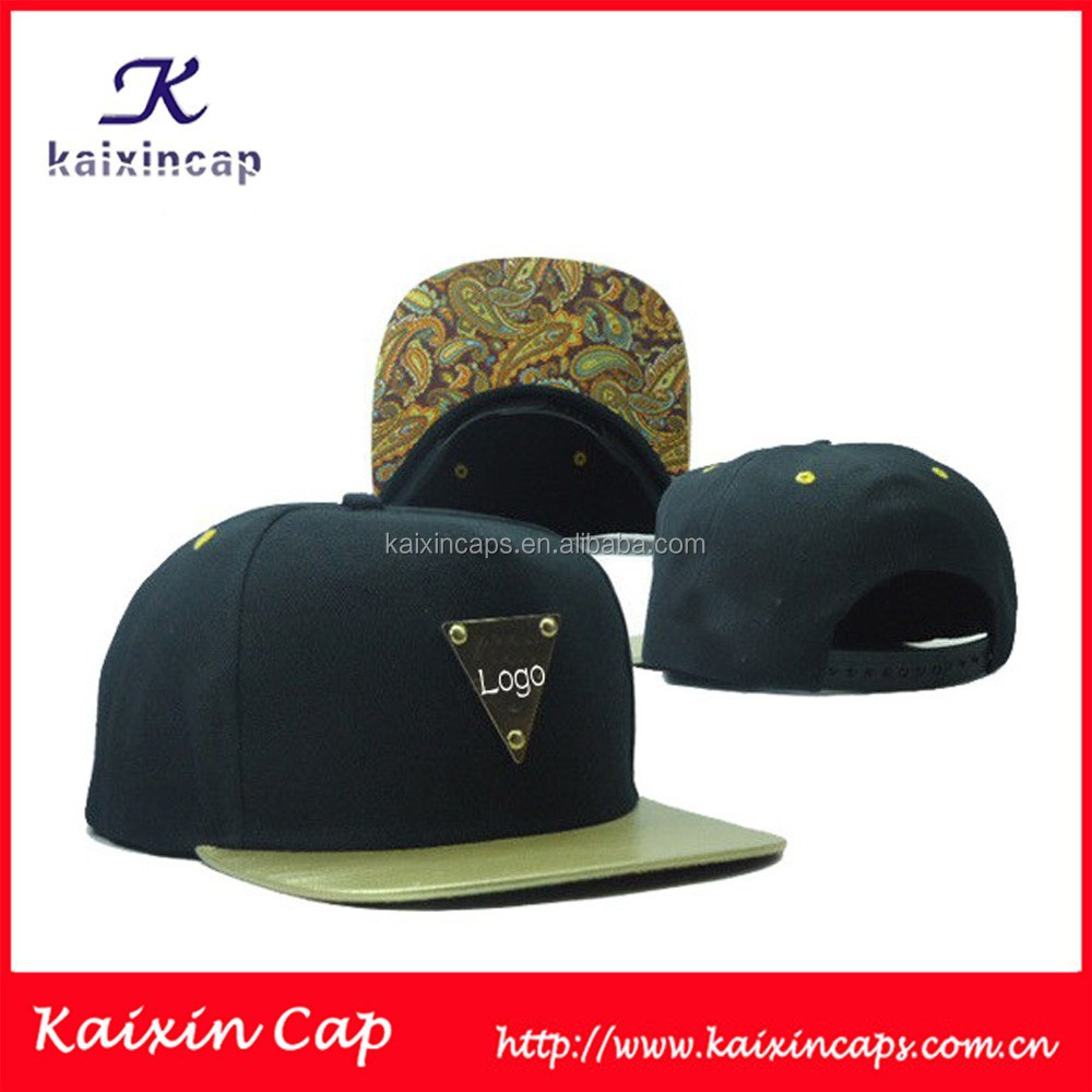 custom metal logo snapback cap with leopard printed underbrim wholesale/snapback manufacture quality