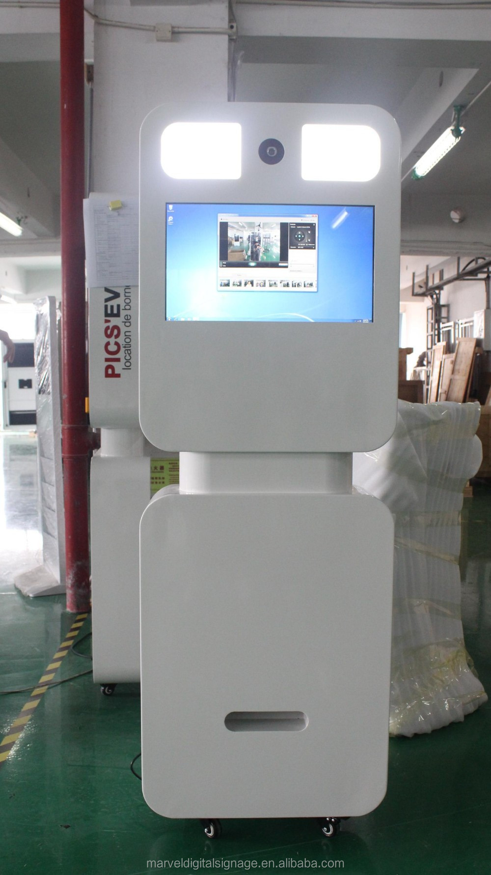 photo booth portable video display with print photos function