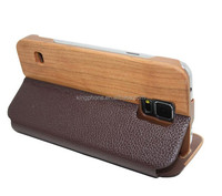 Top quality for Samsung galaxy S5 wood leather case flip case, leather wood cover