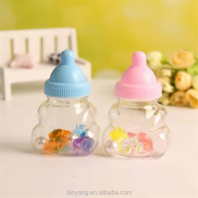 Baby douche plastic bonbondoos fles roze meisje blauw jongen verjaardagsfeestje gunsten - Baby douche ...