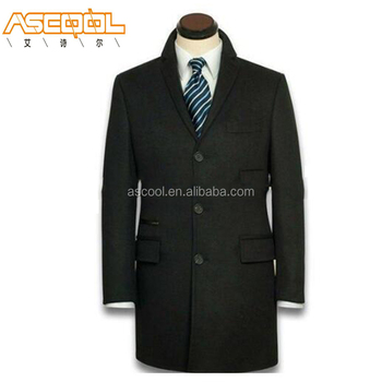 Unique Design 100% Polyester Slim Long Mens Wool Winter Coat