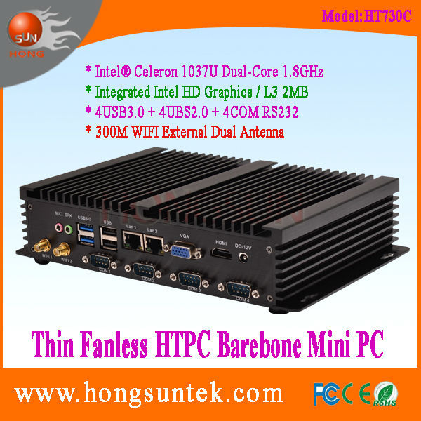 HT730C Barebone PC System Intel Celeron 1037U Quad Core 2Ghz CPU 4COM RS232 Thin Fanless Barebone Mini PC