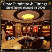 Fashion wooden red wine display stand shelf and liquor rack for wine store decoration furniture