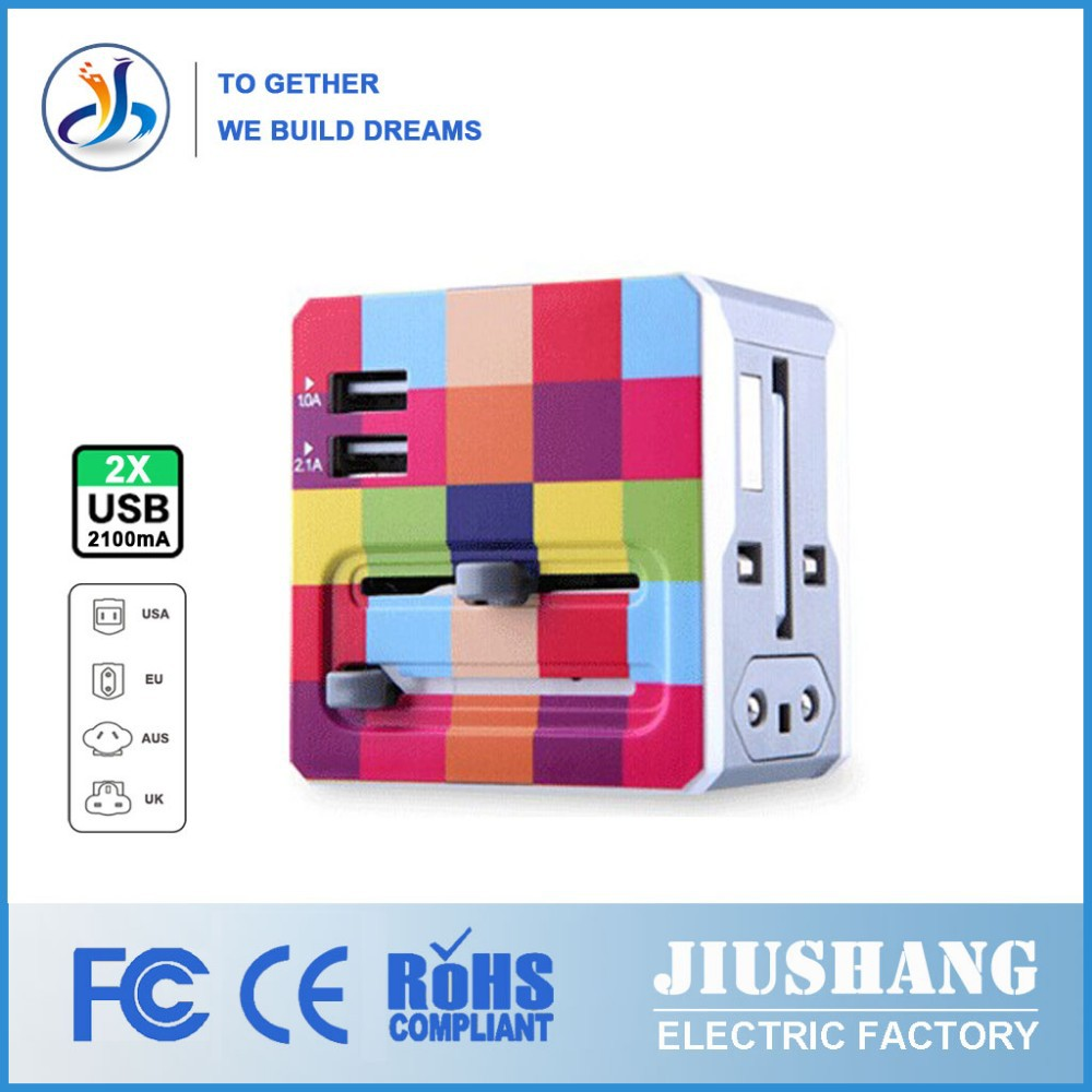 Made in China Colorful High Quality 2 USB Universal Adaptor Plug
