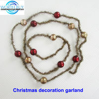 Vintage beads & tinsel decorated christmas pearl beaded garland supplier