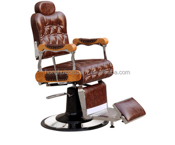Vintage Royal Armrest Beauty Salon Equipment PVC Hydraulic Reclining Barber Chair