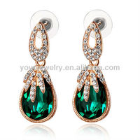 E823 Hot sale crystal earrings high quality dangle earrings elegant green emerald earring