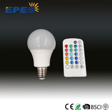 LED RGB bulb lamp A60 4w e27, with remote controller 16 color,rgb led full color rotating lamp