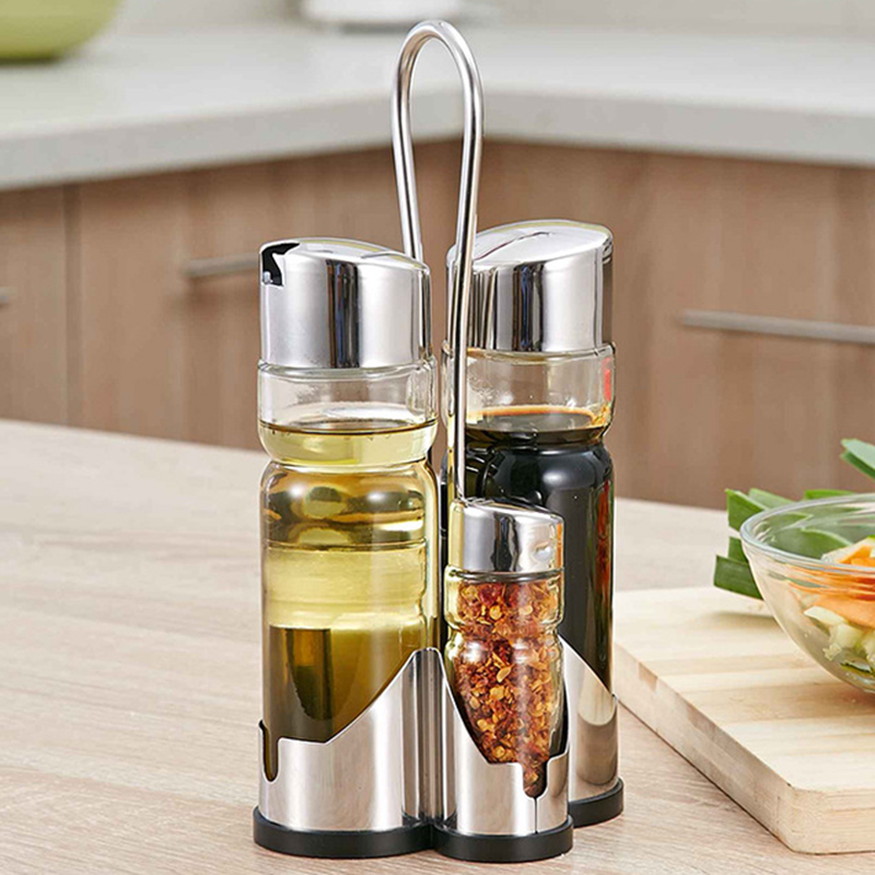 Wholesale Set of 3pcs Glass Spice Jar Seasoning Box Salt Sugar Pepper Bottle Kitchen