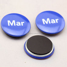 mini cute round shape custom printed tin metal fridge magnet
