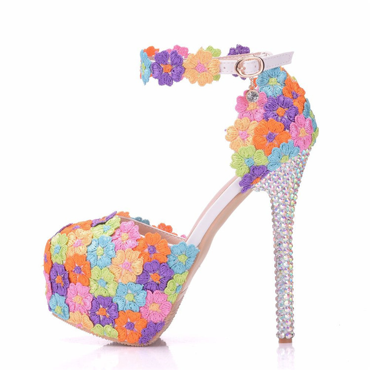 Beautiful Colorful lace Flowers Crystal <strong>Heels</strong> Women's Pumps Ultra High <strong>Heels</strong> Wedding Party Sandals Shoes