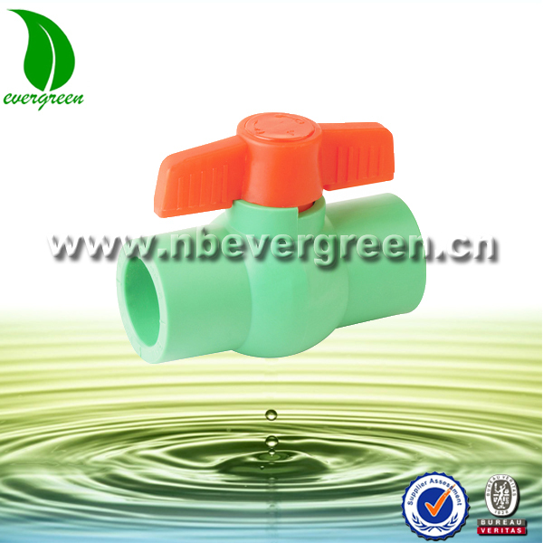 China manufacture green body npt ppr ball valve with butterfly handle
