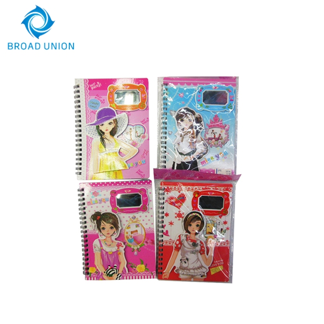 Hot Sale Fancy Spiral Notebook With Mirror For Girls