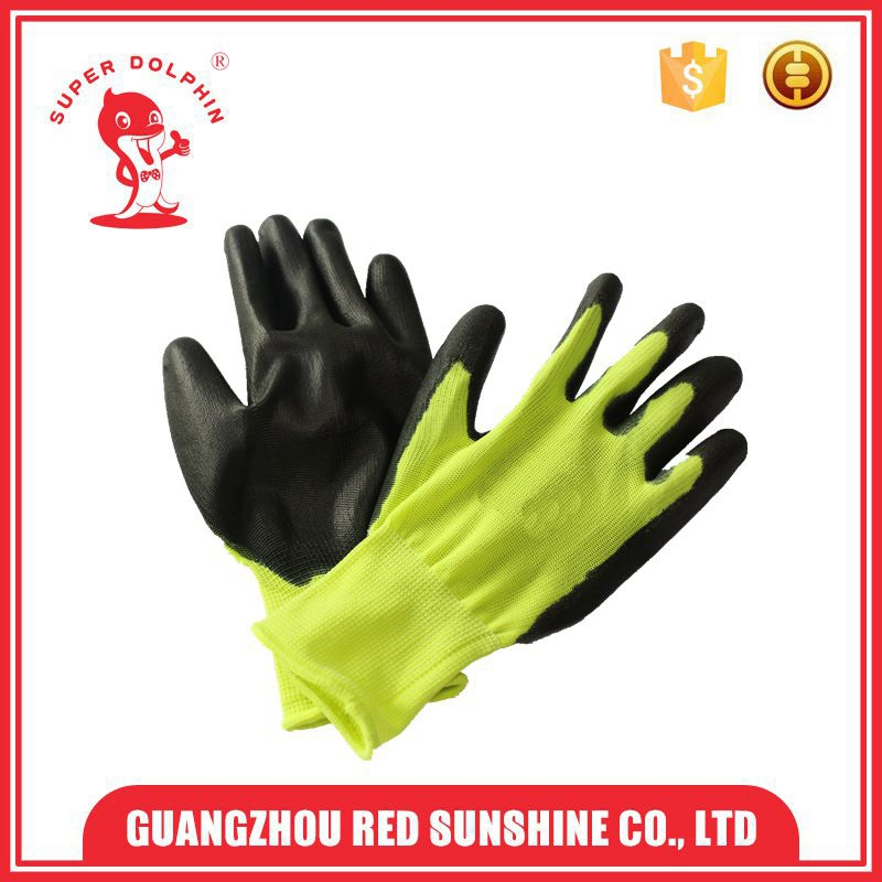 Light PU coated polyester gloves with knitted cuff